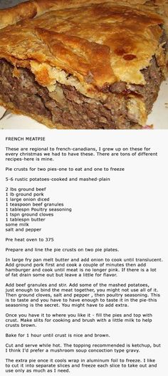 French Canadian Meat Pie substitute pork for turkey Mary Berry, French Meat Pie, Meat Recipes, Cooking Recipes, Healthy Recipes, Healthy Meals, Chicken Recipes, Healthy Food, Quiche