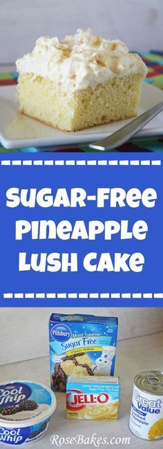 Sugar Free Pineapple Lush Cake by Rose Bakes Sugar-Free Pineapple Lush Cake. This is a yummy recipe for a sugar-free dessert that's easy to make and has only a few ingredients! Perfect for diabetics! Sugar Free Deserts, Low Sugar Desserts, Sugar Free Sweets, No Sugar Foods, Sugar Free Recipes, Sugar Free Cakes, Gourmet Desserts, Delicious Desserts, Plated Desserts
