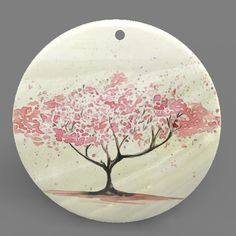 Mother of Pearl Shell Tree Color Printing Pendant Necklace J1705 0500 #ZL #Pendnat