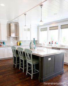 window and blinds = classic chic counters & cabinets...white & gray