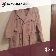 Women's metaphor size large dress rain coat L Women's size large metaphor brand rain coat. Tan color with belt and front pockets. Used not abused. Metaphor Jackets & Coats Trench Coats