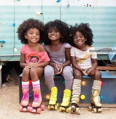 Giggles and rollerskates Cute Black Babies, Beautiful Black Babies, Beautiful Children, Cute Babies, Brown Babies, Natural Hairstyles For Kids, Natural Hair Styles, Black Hairstyles, Curly Kids