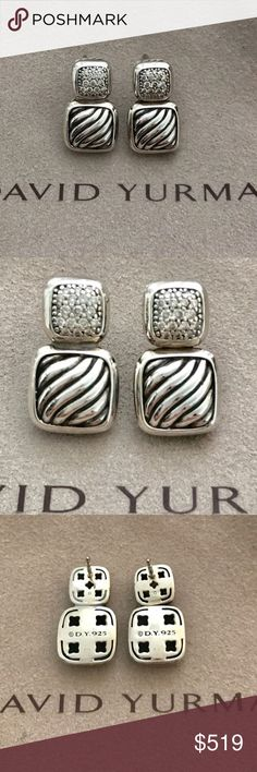 David Yurman Silver & Diamond Earrings From the confetti collection. No longer available. Sterling silver with pave diamonds. Original backs and pouch included. David Yurman Jewelry Earrings