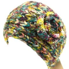 Adjustable Hand Knit Head wrap Headband Chunky Flower Purple with Multiple Colors $14.95