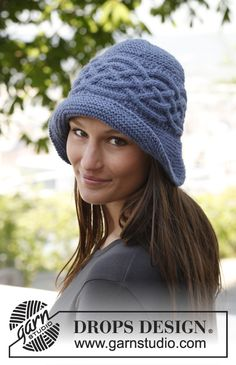 "Free pattern: Knitted DROPS hat with sideways cable in ""Nepal""."
