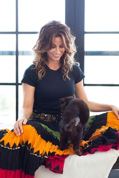 Gina Gershon Interview, Pictures - House Of Versace Long Shag Hairstyles, Celebrity Hairstyles, Tie Dye Skirt, Dress Skirt, Gown Dress, Female Actresses, Actors & Actresses, Girl Celebrities, Celebs