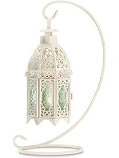 Gifts & Decor White Fancy Antique Lattice Candle Lantern with Stand ❤ Furniture Creations