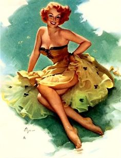 Pin Up yellow dress Artwork by the ever talented Gil Elvgren Pinup Art, Gil Elvgren, Retro Pin Up, Retro Art, Vintage Pins, Vintage Art, Vintage Vogue, Etsy Vintage, Pin Up Pictures