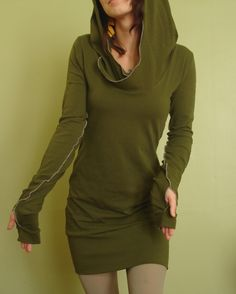 hooded tunic dress extra long sleeves w/thumb holes OLIVE GREEN. $65.00, via Etsy.