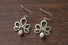 Ivory & Gold Damask Earrings by TheAlteredChain on Etsy, $15.00