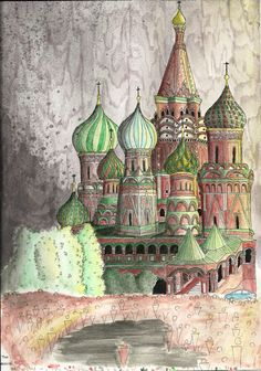 St. Basil's Cathedral, Moscow  Watercolour and nankin pen sketch Aquarela e caneta nanquim