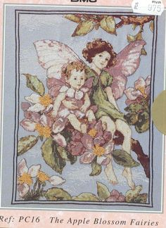 Cross stitch - fairies: Apple blossom fairy - Cicely Mary Barker (free pattern with chart)