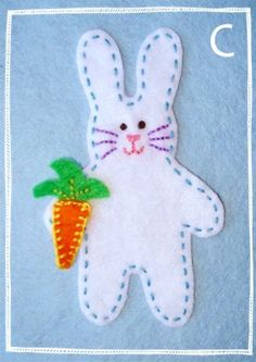 This is actually part of a larger Easter felt garland, but this little bunny is too cute on its own.