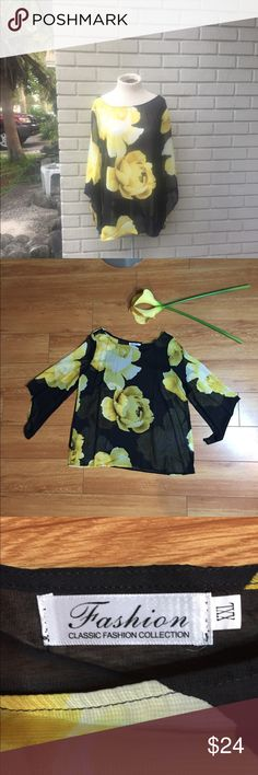 🆕 NWOT Yellow and Black Floral Blouse Beautiful Floral Chiffon Blouse. I purchased this top however it was too small in the bust. Sadly for me I never got a chance to wear it but hopefully you can give this top a nice home. Measurements laid flat: Classic Fashion Tops Blouses