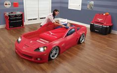 toddler car beds for boys | Amazon.com: Step2 Corvette Bed with Lights - Red/Silver/Black: Toys ...