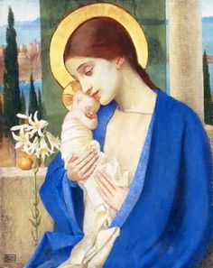 Madonna and Child, by Marianne Stokes  (what a tiny baby!  the smallest I have ever seen Him in relation to Mary)