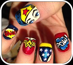 Wonder Woman Themed Nail Art! I'm sure you could give it a more Iron Man theme :)