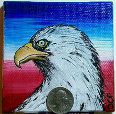 "NOW ONLY $39.99!! #WhileItLasts Red White & Blue Bald Eagle Acrylic on Canvas Artist Original Art Birds 4"" x 4"" #Miniature"