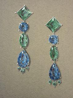 Concepção de uma joia através de um desenho, com técnica de ilustração elaborada em papel importado.