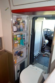 Food storage and pass-through in the Ambulance camper!!!  Note the head in the pass-thru!