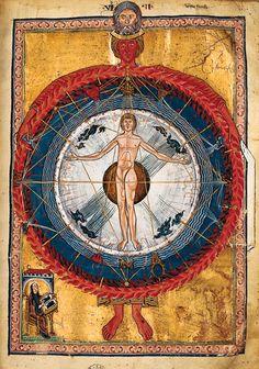 """""""L'homme universel"""", enluminure du Livre des oeuvres divines d'Hildegarde de Bingen (XIIIe siècle)"""