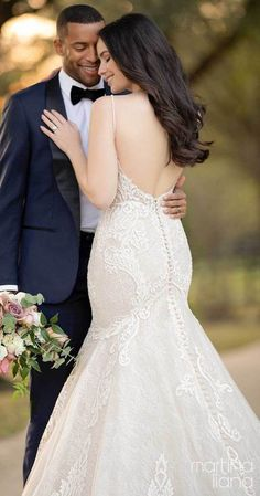 Lace mermaid wedding dress with scoop open back, v-neckline and spaghetti straps for the romantic bride | Romantic bride and groom wedding photo | Martina Liana Fall 2020 Wedding Dresses - Style 1250 - Belle The Magazine #weddingdress #weddingdresses #bridalgown #bridal #bridalgowns #weddinggown #bridetobe #weddings #bride #dreamdress #bridalcollection #bridaldress #dress See more gorgeous bridal gowns by clicking on the photo Lace Mermaid Wedding Dress, Black Wedding Dresses, Gorgeous Wedding Dress, Wedding Dress Styles, Designer Wedding Dresses, Bridal Dresses, Sheath Wedding Gown, Wedding Gowns, Bridal Looks