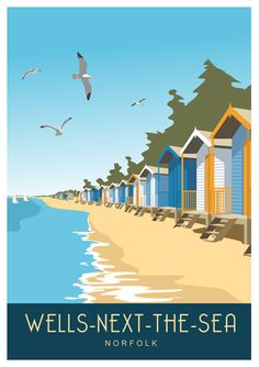 WELLS NEXT the SEA. Art Deco style print of beach huts in Wells, portrait. Portrait A4, A3, A2 in Retro, Art Deco style design