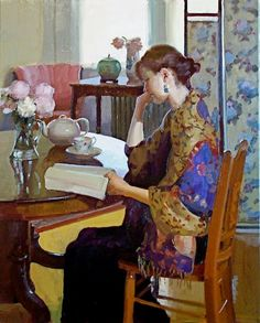 """""""She breathed deeply of the scent of decaying fiction, disintegrating history, and forgotten verse, and she observed for the first time that a room full of books smelled like dessert: a sweet snack made of figs, vanilla, glue, and cleverness."""" (Joe Hill, NOS4A2) Art: Reading in the afternoon by Dennis Perrin"""