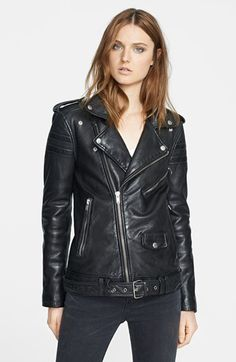 THE perfect moto leather jacket. i like that it's a subtly longer to lengthen the body.