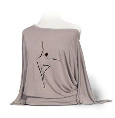 "Dolman Long Sleeve Dance Top ""Abstract Dancer"" Pebble on Etsy, $28.00"