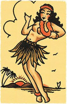110 Hula Pin up Girl Vintage Sailor Jerry Traditional Style Flash Poster Print for sale online Tattoo Girls, Hula Girl Tattoos, Sailor Jerry Tattoos, Girls With Sleeve Tattoos, Pin Up Tattoos, Dragon Tattoo Back Piece, Dragon Sleeve Tattoos, Pin Up Girl Vintage, Vintage Sailor