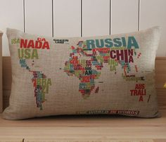 12x18inch Colorful World Map Pillow Case, Cotton Linen Cushion Cover, Cushion Case, Eco-friendly Pillow Cover House Decoration JA