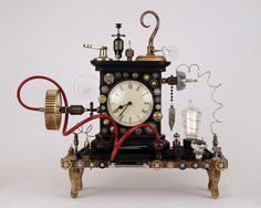 Steampunk found object clock assemblage-Antique mantle clock