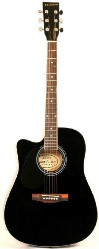 Left Handed Black Acoustic Electric Guitar Full Size Thinline Cutaway Body with Case and Picks