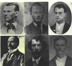 """The James-Younger Gang  The above photos are of, top row, left to right: Jesse James, Cole Younger, and John Younger. The bottom row of photos are of: Frank James, Clell Miller, and Bob Younger. These men were primarily the """"core"""" gang members."""