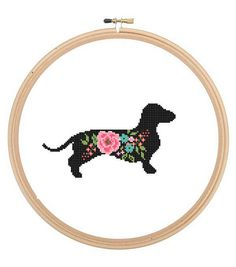 Dachshund Dog Silhouette Cross Stitch Pattern floral roses Pet animal wall art Dog cross stitch modern trendy great gift