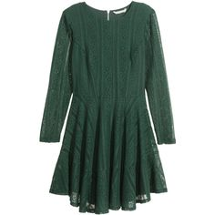 H&M Long-sleeved lace dress ($46) ❤ liked on Polyvore featuring dresses, dark green, green ruffle dress, dark green long sleeve dress, green fitted dress, fitted dresses and h&m dresses