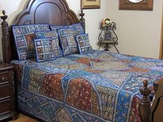 Blue bohemian patchwork bed cover India Embroidered Bedspread in Queen size