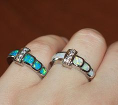 fire opal Cz ring gems silver jewelry Sz 6.5 8 modern wedding engagement band L9 #Unbranded