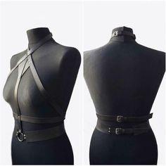 Dark Fashion, Gothic Fashion, Mafia Outfit, Leather Lingerie, Cool Outfits, Fashion Outfits, Leather Harness, Complete Outfits, Ethical Fashion