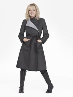 Twiggy for Marks and Spencer Collection Reversible Wrap Belted Coat with Wool
