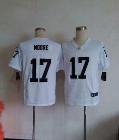 Mens Nike NFL Oakland Raiders #17 Denarius Moore White Elite Jerseys