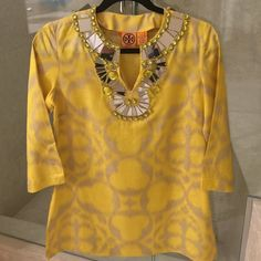 Jeweled Tory burch tunic Yellow TB linen tunic with gorgeous jeweled accents. Never worn Tory Burch Tops Tunics