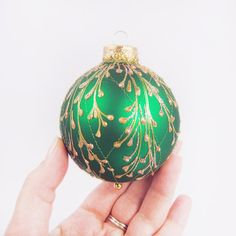 Faberge Inspired Christmas Ornament Green by SilverOwlStudio, $15.00