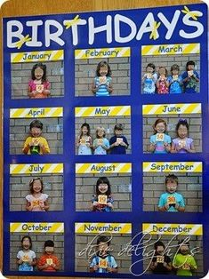 Birthday chart for the classroom with student photos! Such a cute idea!