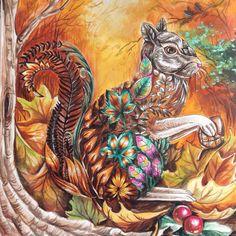 Squirrel enchanted forest by Eli Federzoni Secret Garden Coloring Book, Coloring Book Art, Colouring Pages, Adult Coloring, Enchanted Forest Book, Enchanted Forest Coloring Book, Johanna Basford Books, Johanna Basford Coloring Book, Lost Ocean