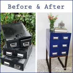 DIY a Card Catalog Side Table! Old File Box Repurpose Upcylce Project with Tutorial