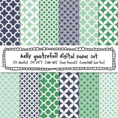 digital paper navy blue green aqua turquoise quatrefoil printable patterns, modern photography backgrounds, mod preppy trendy patterns  401. CE website