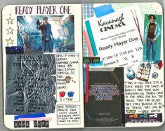 GAME OVER Film Journal: 'Ready Player One' Instagram: kateholderness Music Journal, Book Journal, Journals, Bullet Journal, Movie Collage, Ready Player One, Journal Aesthetic, Film Books, Marvel