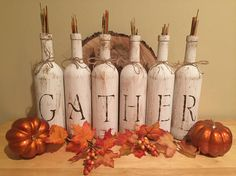 "Fall home decor, Rustic ""Gather"" Wine Bottle Display, Rustic Home Decor, Rustic Thanksgiving Home decor, Rustic Fall decor    Who doesn't like the GATHERing you do at your home, especially around the holidays. This 6 wine bottle set is a perfect display or centerpiece to display in your home year round. It's a sure statement piece for guest to see.    Affiliate"